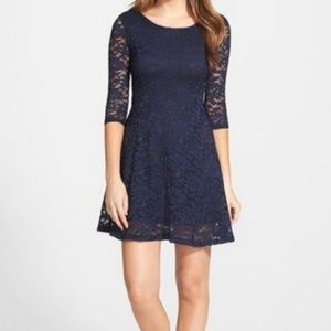 Navy, Lace, Long Sleeved,  Lush Dress